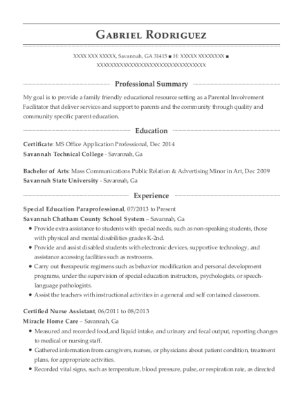 Special Education Paraprofessional resume example Georgia