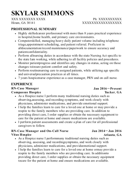 RN Case Manager resume sample Georgia