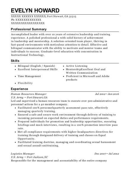 Human Resources Manager resume template Georgia
