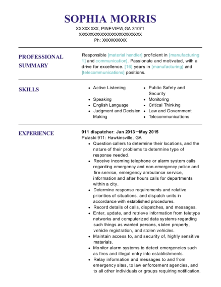 911 dispatcher resume template Georgia