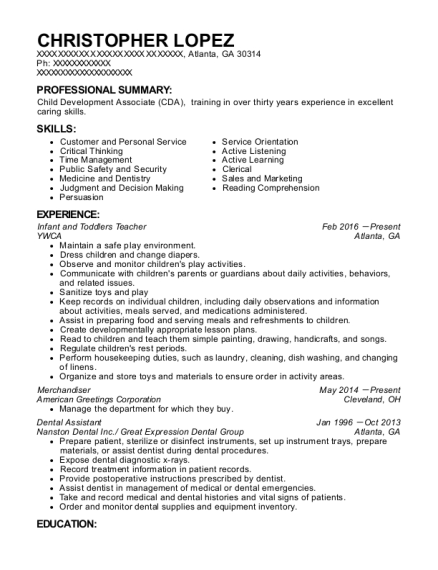 Infant and Toddlers Teacher resume example Georgia