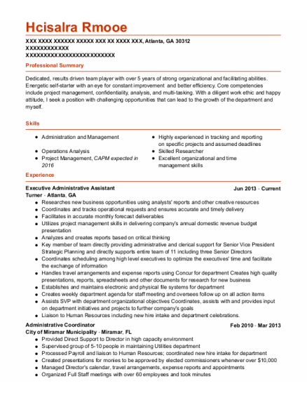 Executive Administrative Assistant resume sample Georgia