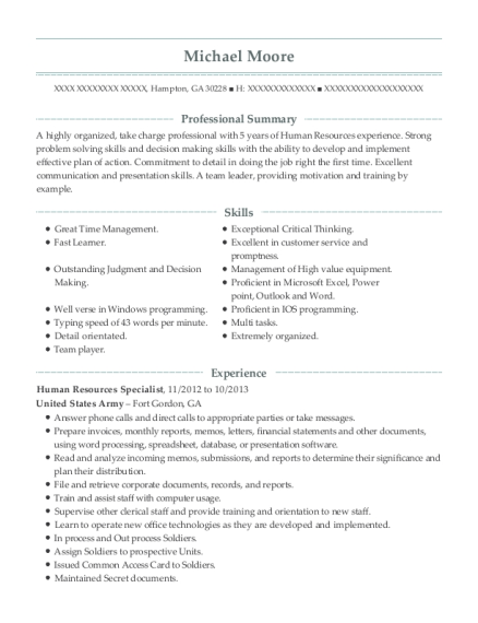 Human Resources Specialist resume template Georgia
