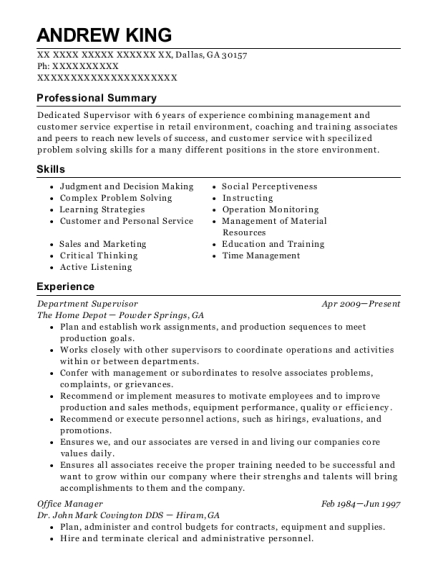 Department Supervisor resume format Georgia