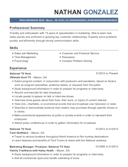 National TV Host resume example Georgia