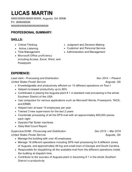 Lead clerk Processing and Distribution resume example Georgia