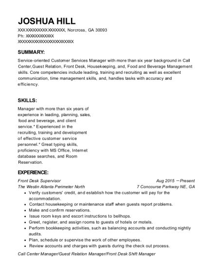 Front Desk Supervisor resume format Georgia