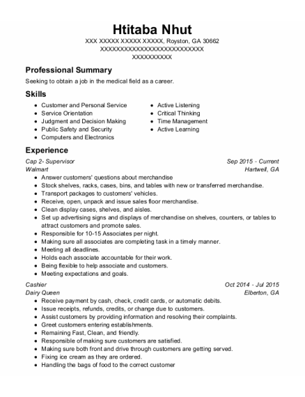 Walmart Cap 2 Supervisor Resume Sample - Royston Georgia | ResumeHelp