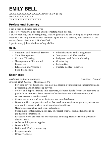 Assistant cafeteria manager resume sample Georgia