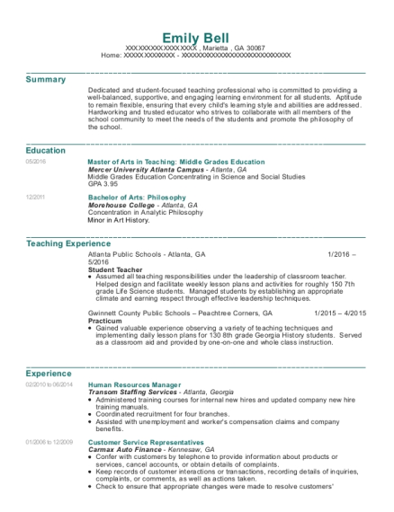 Human Resources Manager resume format Georgia