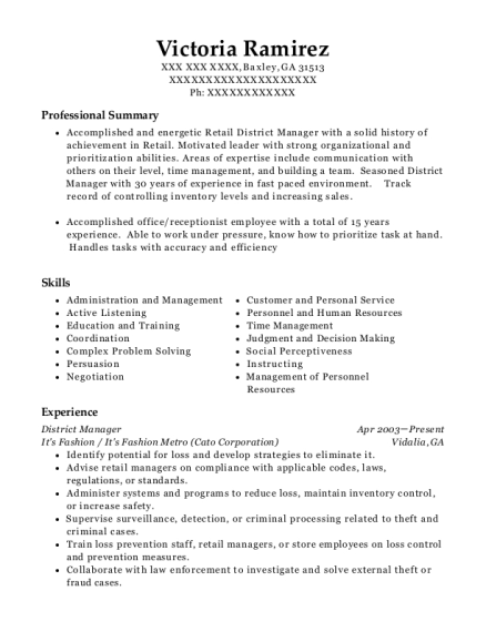 District Manager resume template Georgia