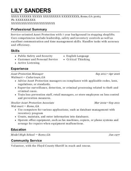 Asset Protection Manager resume format Georgia
