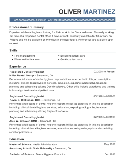 Registered Dental Hygienist resume template Georgia