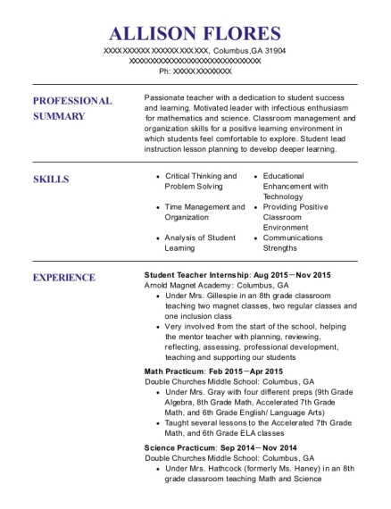 Student Teacher Internship resume example Georgia