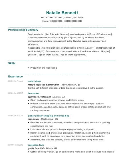 order picker resume example Georgia
