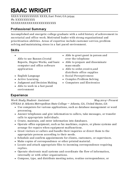 Work Study Student Assistant resume template Georgia