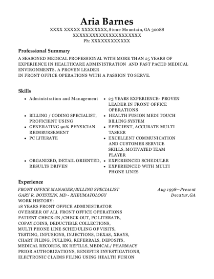 FRONT OFFICE MANAGER resume template Georgia