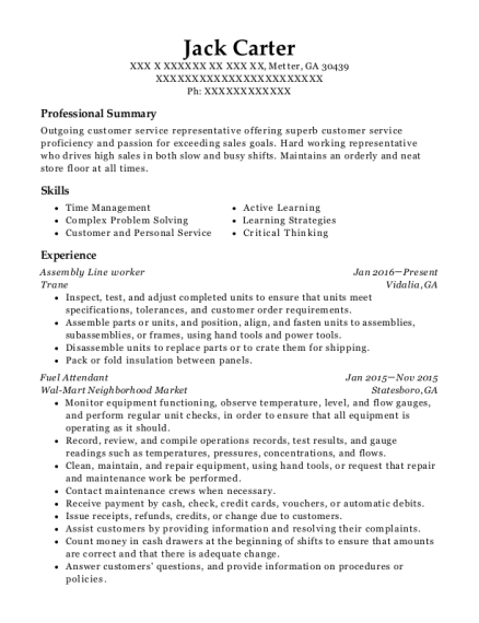 Assembly Line Worker resume template Georgia