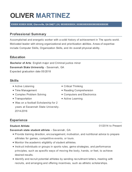 Student Athlete resume sample Georgia