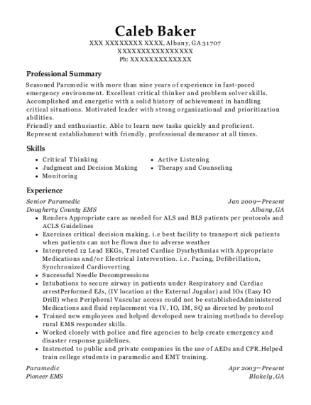 Senior Paramedic resume example Georgia