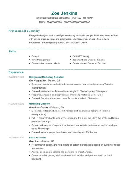 Design and Marketing Assistant resume format Georgia