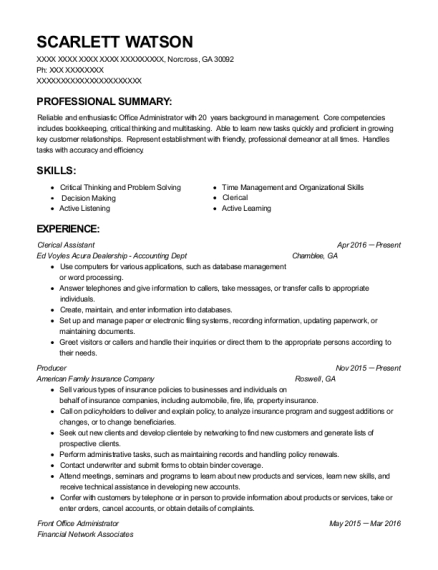 Clerical Assistant resume template Georgia