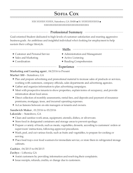 Marketing and Leasing agent resume format Georgia