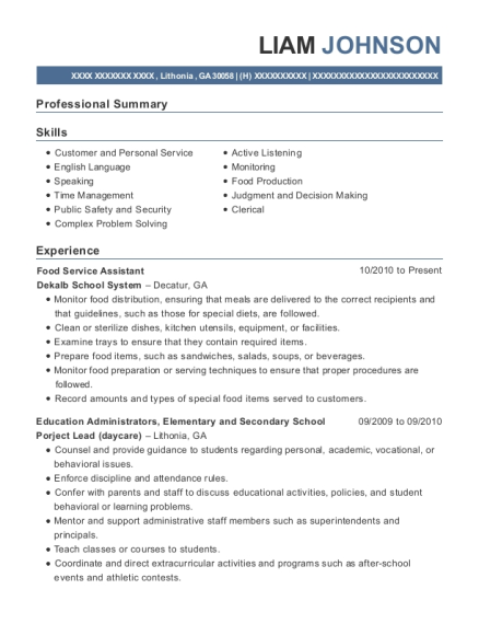 Food Service Assistant resume format Georgia