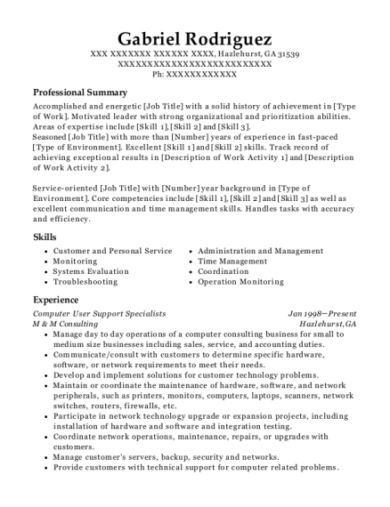 Computer User Support Specialists resume format Georgia