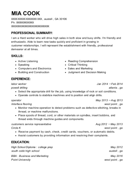 labor worker resume format Georgia