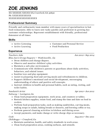 Teachers Aide resume example Georgia