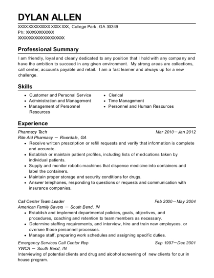 Pharmacy Tech resume template Georgia