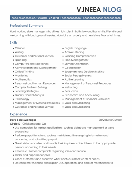Store Sales Manager resume example Georgia