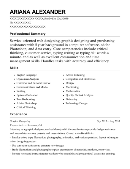 Graphic Designing resume example Georgia
