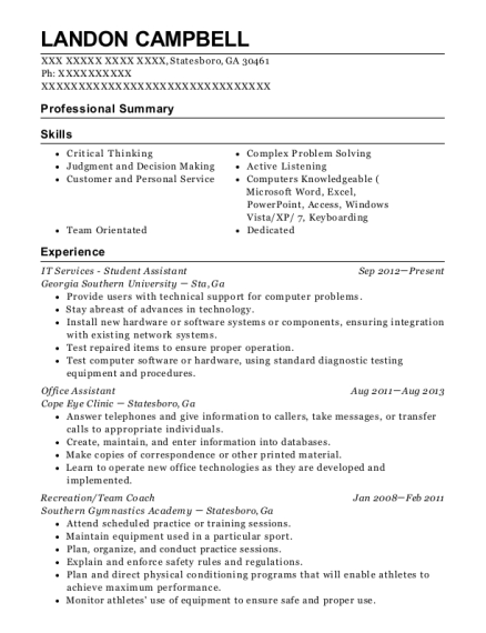 IT Services Student Assistant resume example Georgia
