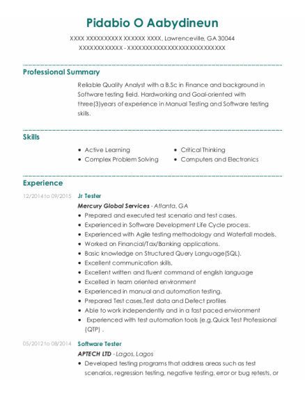 Software Tester resume example Georgia