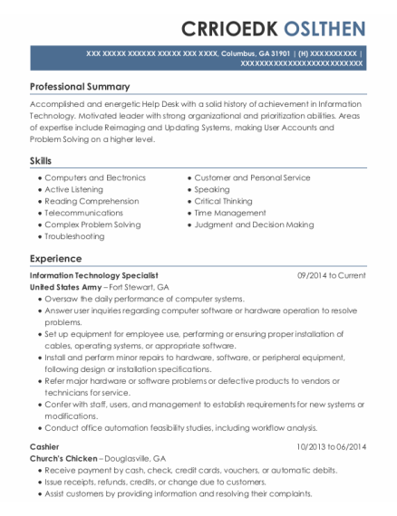 Information Technology Specialist resume template Georgia