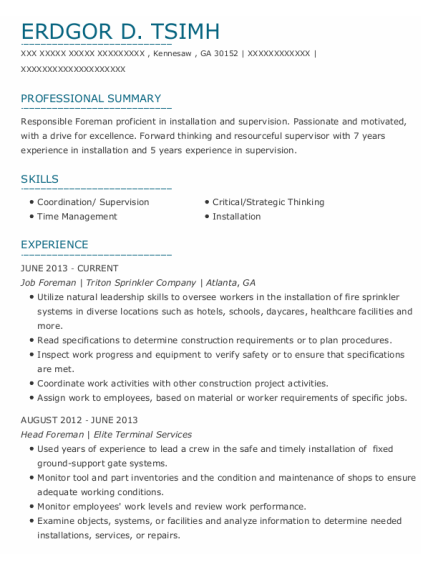 Job Foreman resume example Georgia