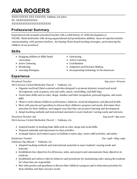 Preschool Teacher resume format Georgia