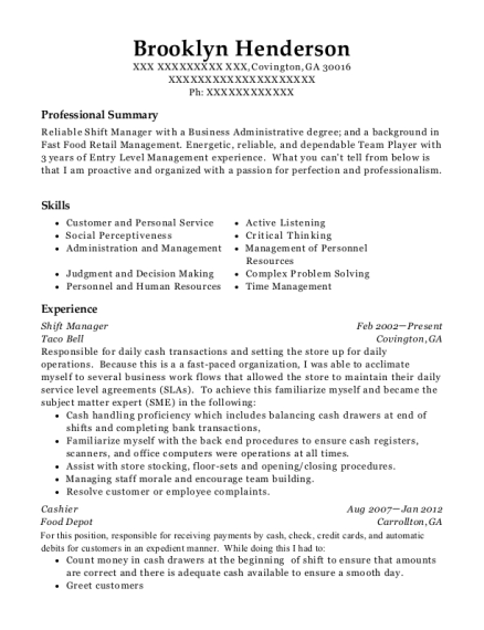 Shift Manager resume sample Georgia