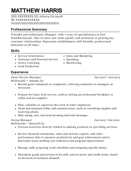 Guest Service Manager resume sample Georgia