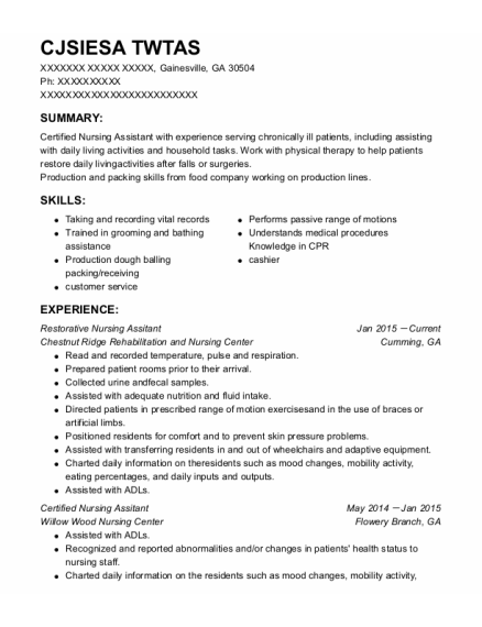 Certified Nursing Assitant resume sample Georgia