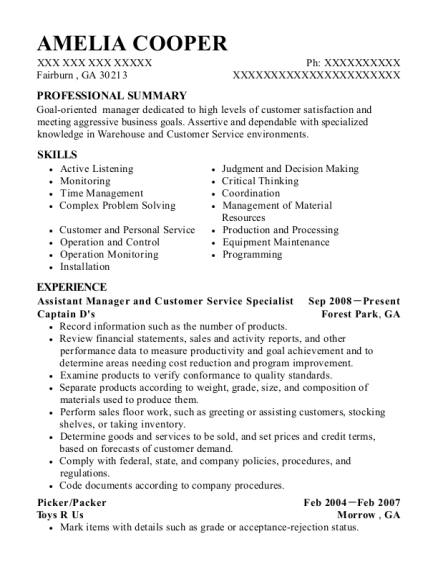 Assistant Manager and Customer Service Specialist resume sample Georgia