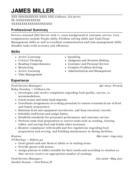 Food Service Managers resume template Georgia