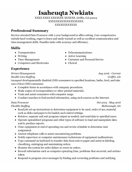 Driver resume template Georgia