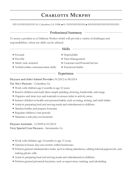 Daycare and After School Provider resume format Georgia