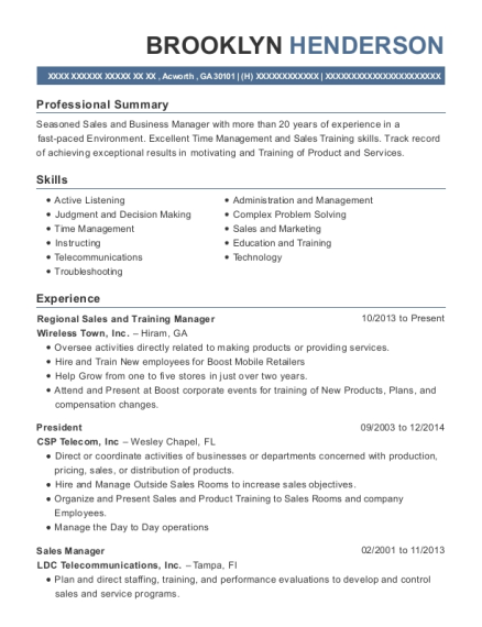 Regional Sales and Training Manager resume sample Georgia