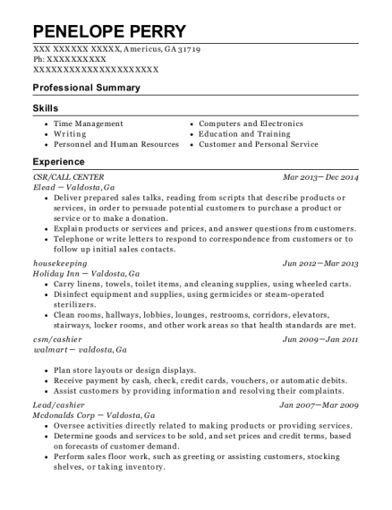 CSR resume example Georgia