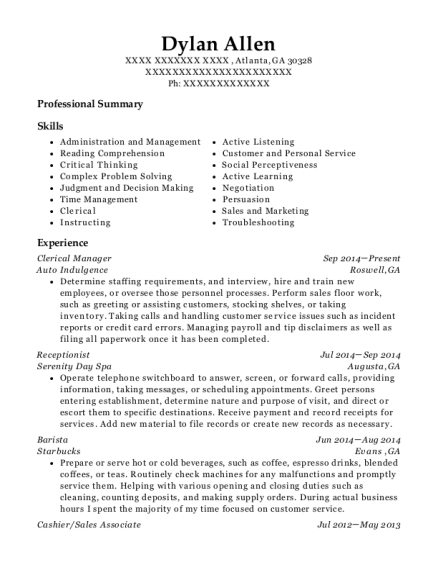 Clerical Manager resume sample Georgia