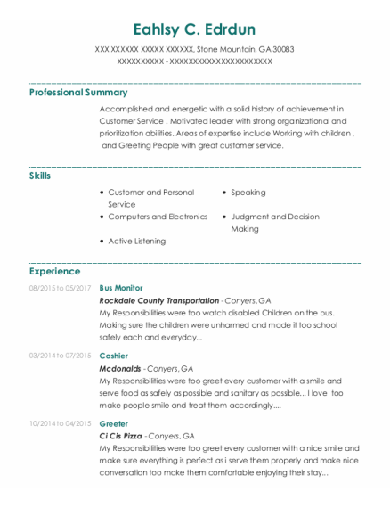 Bus Monitor resume template Georgia